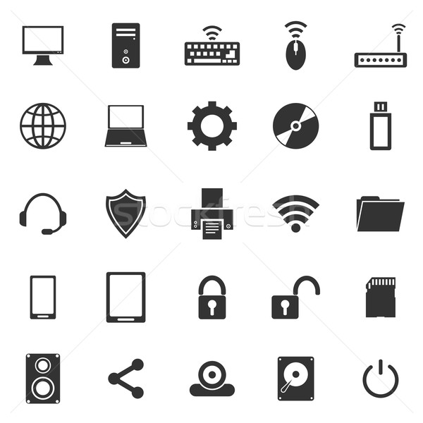 ícones do computador branco estoque vetor computador telefone Foto stock © punsayaporn