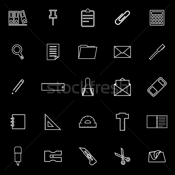 Kırtasiye hat simgeler siyah stok vektör Stok fotoğraf © punsayaporn
