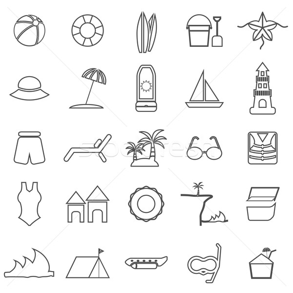Stock photo: Beach line icons on white background