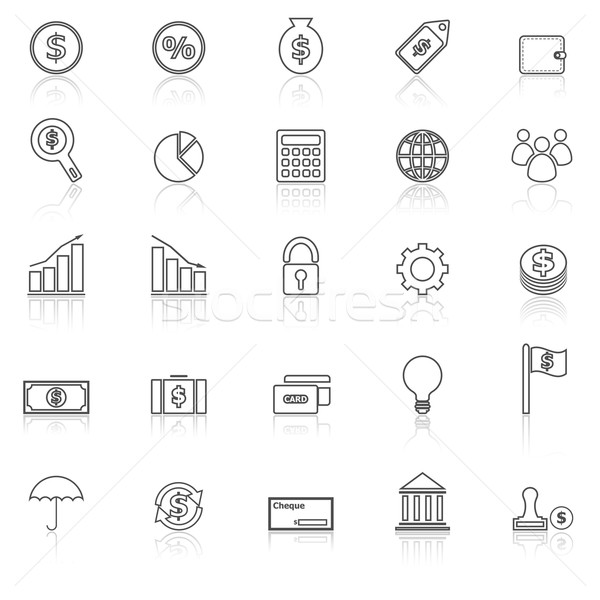 Finance line icons with reflect on white background Stock photo © punsayaporn