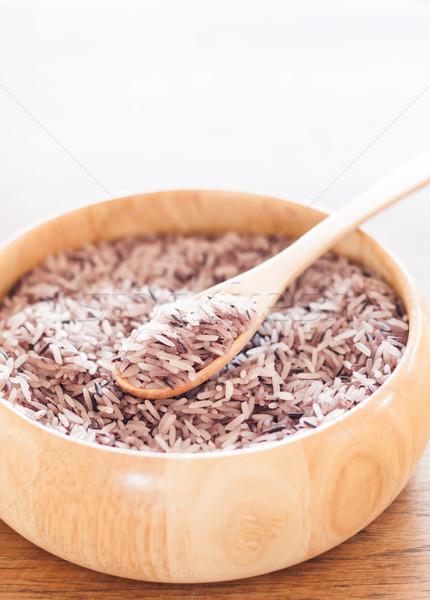 Bes rijst houten kom voorraad foto Stockfoto © punsayaporn