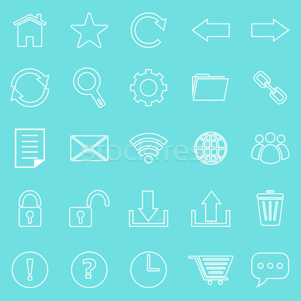 Tool bar line icons on blue background Stock photo © punsayaporn