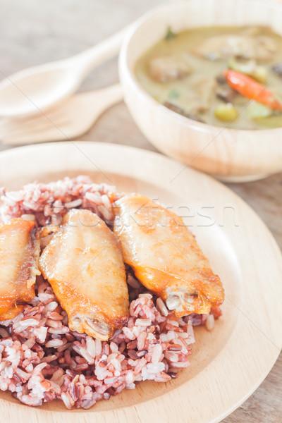 Magvak bogyó rizs zöld curry stock Stock fotó © punsayaporn