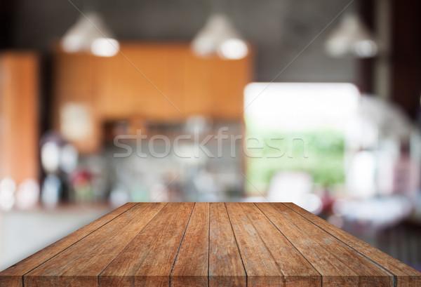 Bruin top houten abstract Blur coffeeshop Stockfoto © punsayaporn