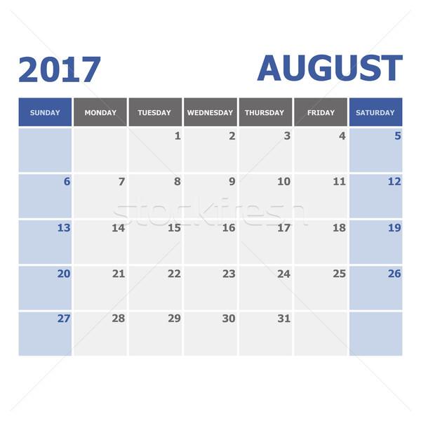 2017 August calendar week starts on Sunday Stock photo © punsayaporn
