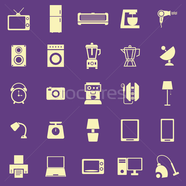 Household color icons on purple background Stock photo © punsayaporn