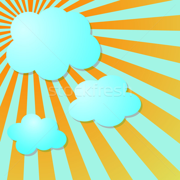 Summer blue sky with sun radial rays and clouds Stock photo © punsayaporn