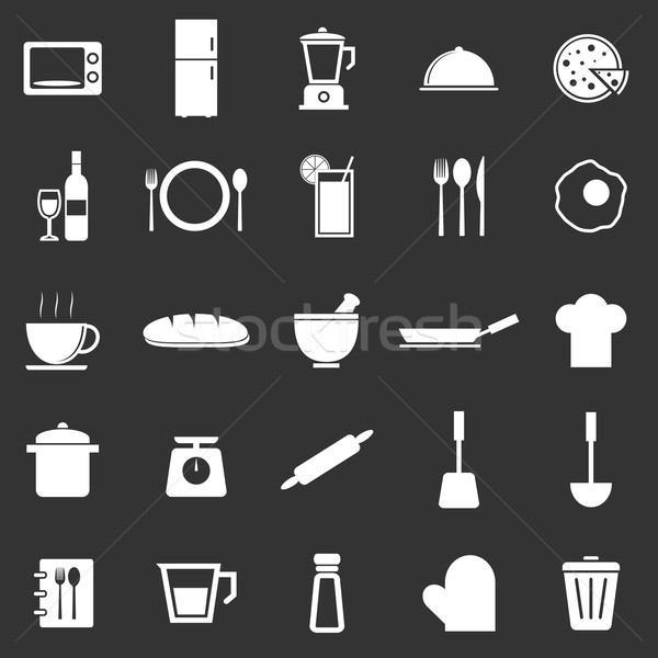 Kitchen icons on black background Stock photo © punsayaporn