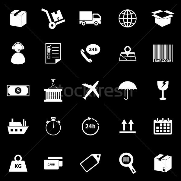 Logistiek iconen zwarte voorraad vector business Stockfoto © punsayaporn