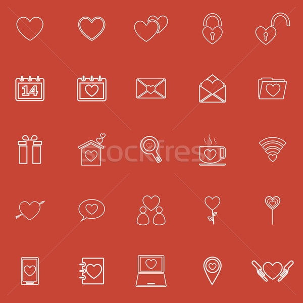 Love line icons on red background Stock photo © punsayaporn