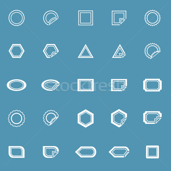 Stock photo: Label line icons on blue background
