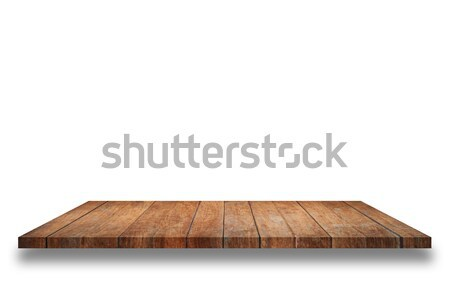 Stock photo: Empty top wooden shelf isolated on white background
