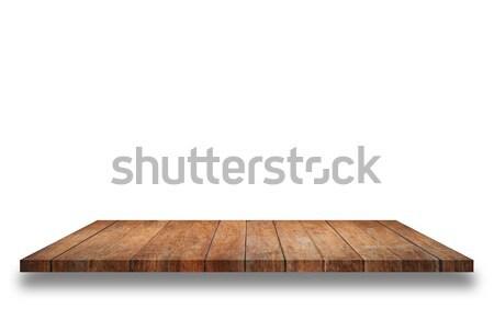 ストックフォト: 空っぽ · 先頭 · 木製 · シェルフ · 孤立した · 白