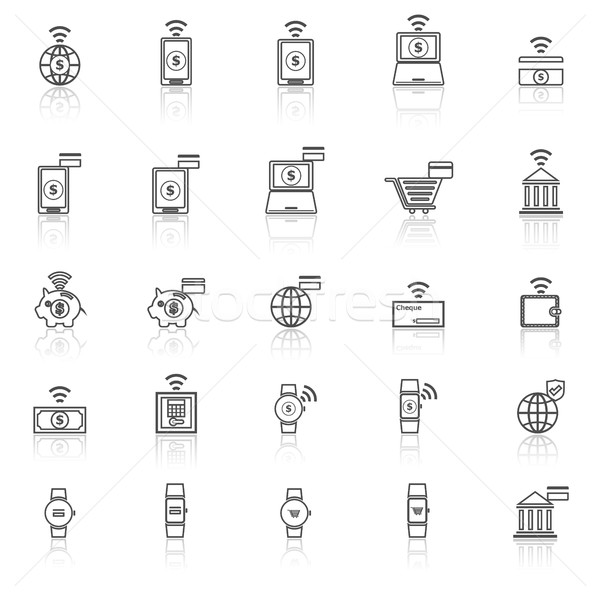 Stock photo: Fintech line icons with reflect on white background