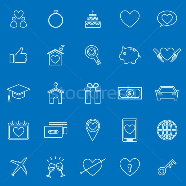Family line color icons on blue background Stock photo © punsayaporn