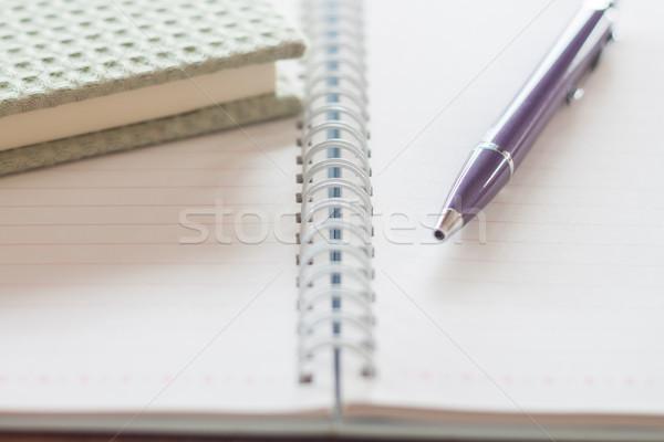 Pen and green notebook on spiral notebook Stock photo © punsayaporn