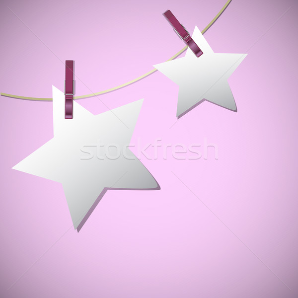 Star shape of note papers hang on string with clothes pin Stock photo © punsayaporn