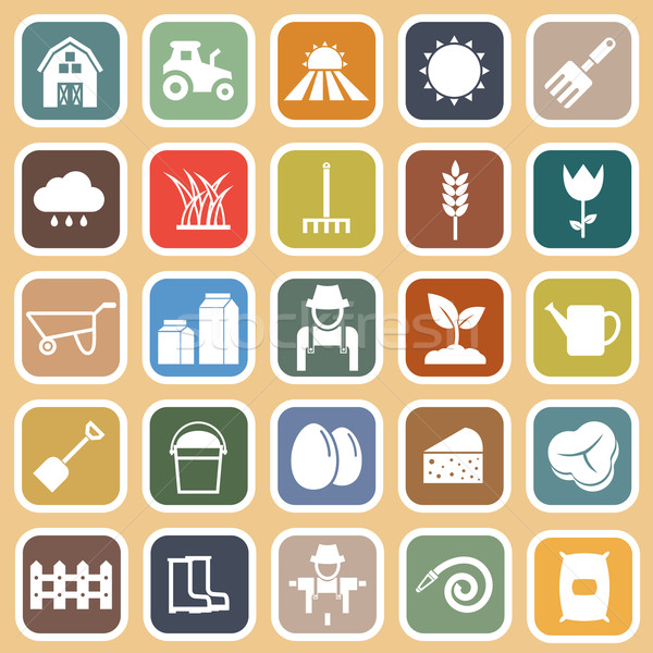 Farming flat icons on brown background Stock photo © punsayaporn
