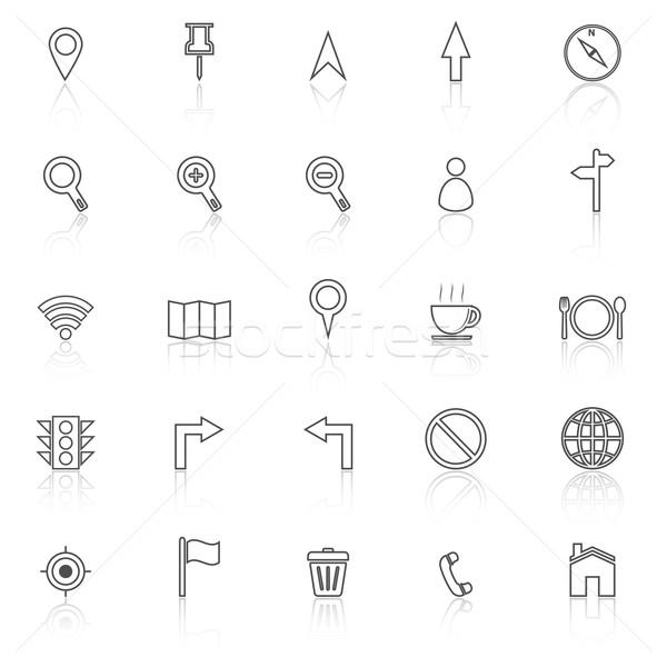 Mapa linha ícones branco estoque vetor Foto stock © punsayaporn