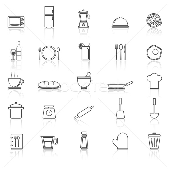 Kitchen line icons with reflect on white Stock photo © punsayaporn