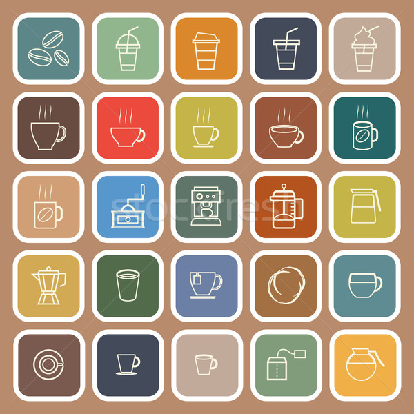 Coffee line flat icons on brown background Stock photo © punsayaporn