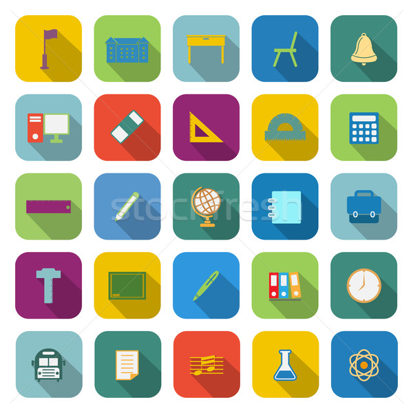 School color icons with long shadow Stock photo © punsayaporn