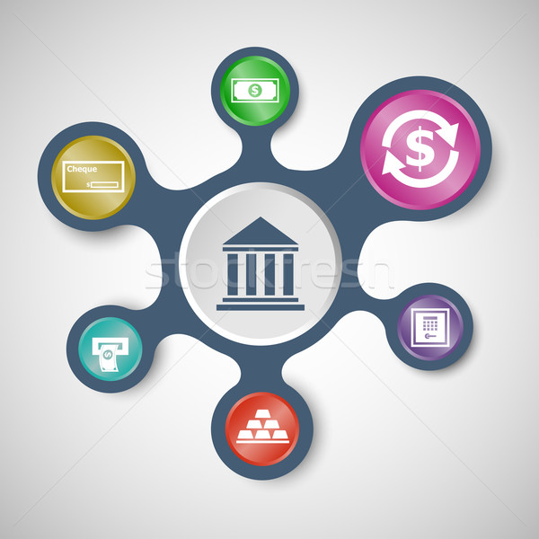 Banking infographic templates with connected metaballs Stock photo © punsayaporn