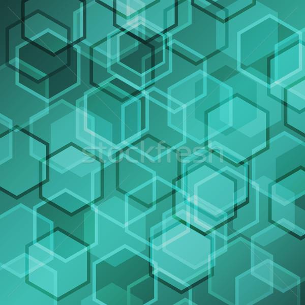 Abstract groene helling zeshoek voorraad vector Stockfoto © punsayaporn