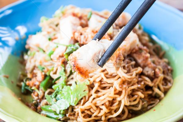 ぱりぱり 豚肉 箸 健康 ストックフォト © punsayaporn
