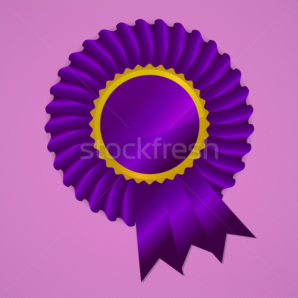 Violet award ribbon rosette on pink background Stock photo © punsayaporn