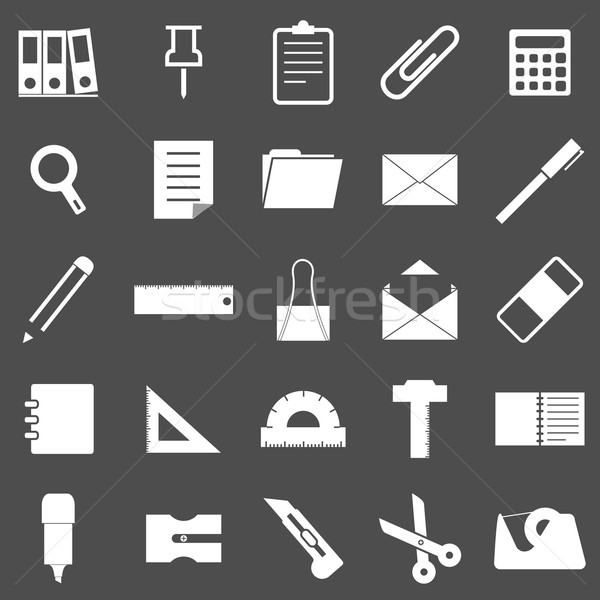 Stationary icons on gray background Stock photo © punsayaporn