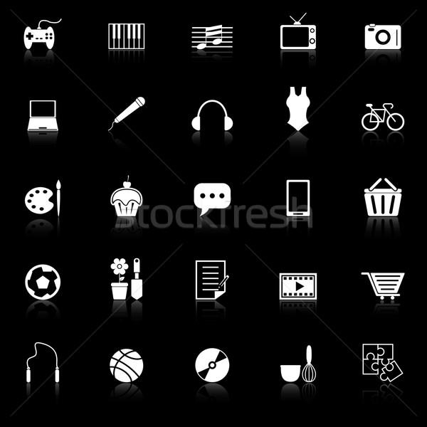 иконки черный складе вектора компьютер Сток-фото © punsayaporn