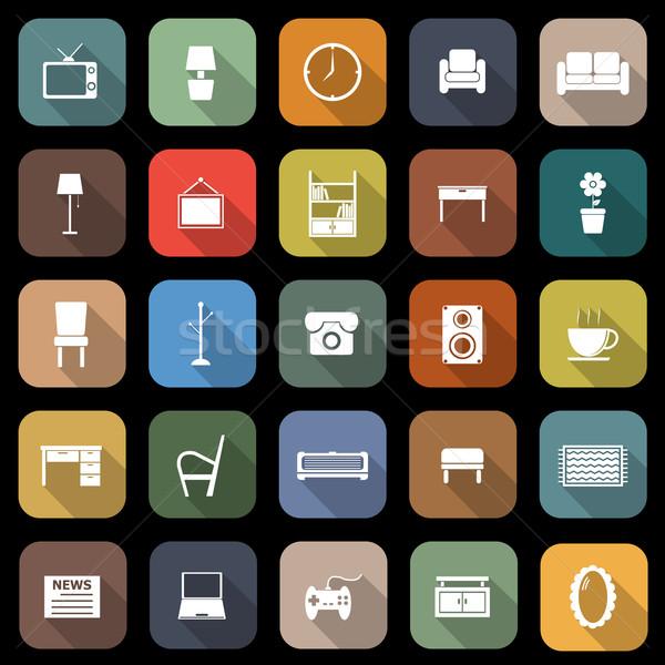 Woonkamer iconen lang schaduw voorraad vector Stockfoto © punsayaporn