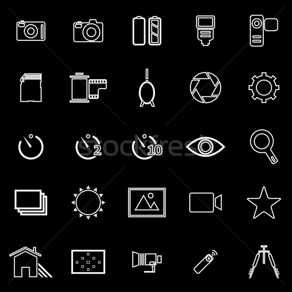 Camera line icons on black background Stock photo © punsayaporn