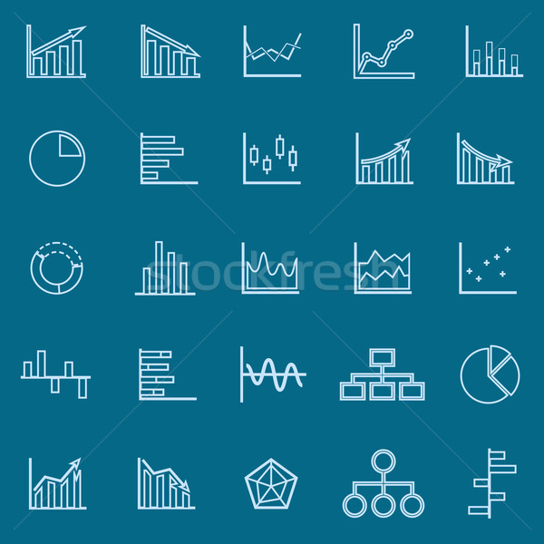 Graph line color icons on blue background Stock photo © punsayaporn