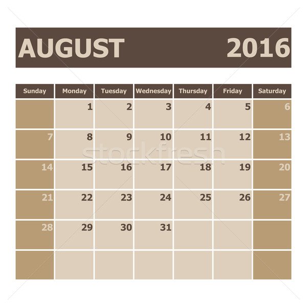 Calendar August 2016, week starts from Sunday Stock photo © punsayaporn