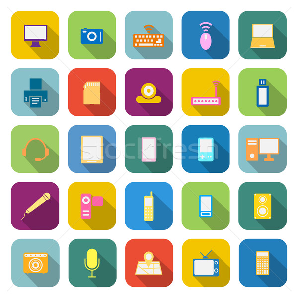 Gadget color icons with long shadow Stock photo © punsayaporn