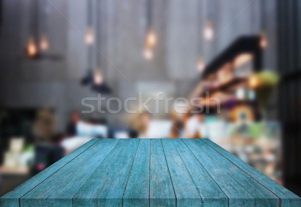 青 表 先頭 木製 ぼやけた コーヒーショップ ストックフォト © punsayaporn