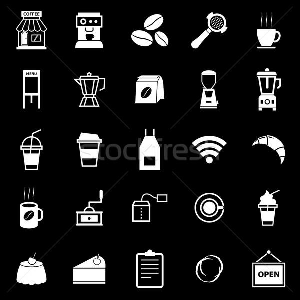Kávéház ikonok feketekávé bolt fekete stock Stock fotó © punsayaporn