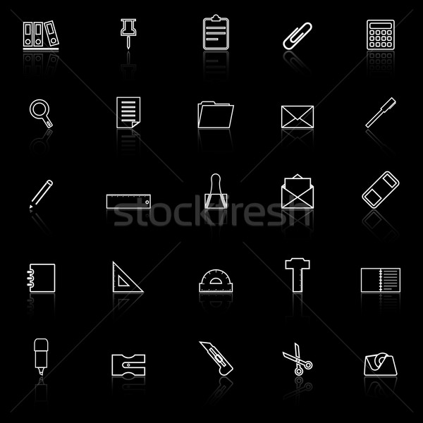 Stationery line icons with reflect on black background Stock photo © punsayaporn