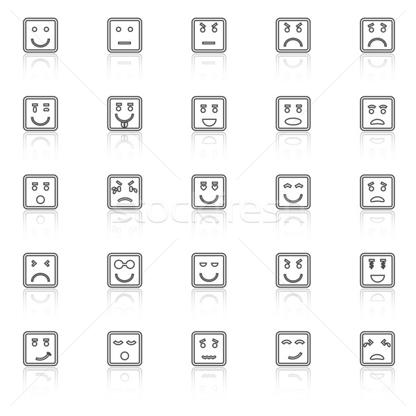 Square face line icons with reflect on white background Stock photo © punsayaporn