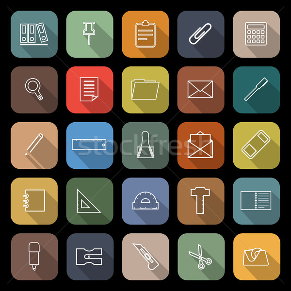 Stationery line flat icons with long shadow Stock photo © punsayaporn