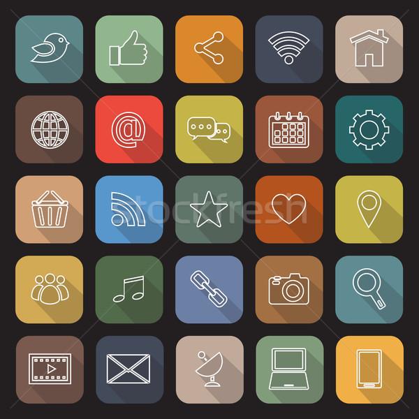 Social media line flat icons with long shadow Stock photo © punsayaporn