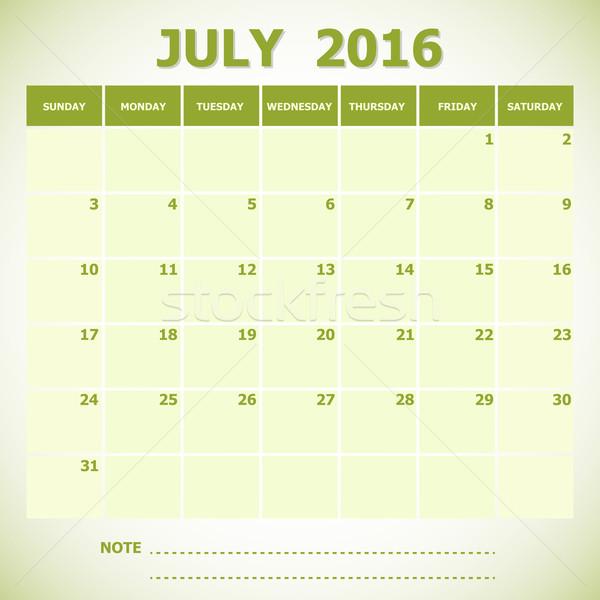 Calendar July 2016 week starts Sunday Stock photo © punsayaporn