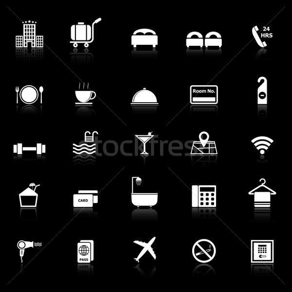 Hotel icons with reflect on black background Stock photo © punsayaporn