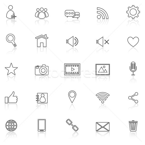 Chat line icons with reflect on white Stock photo © punsayaporn