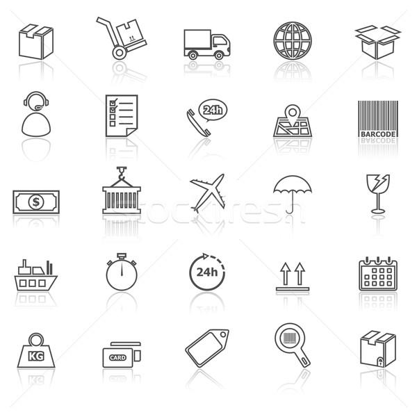 Logistyka line ikona biały czas wektora Zdjęcia stock © punsayaporn
