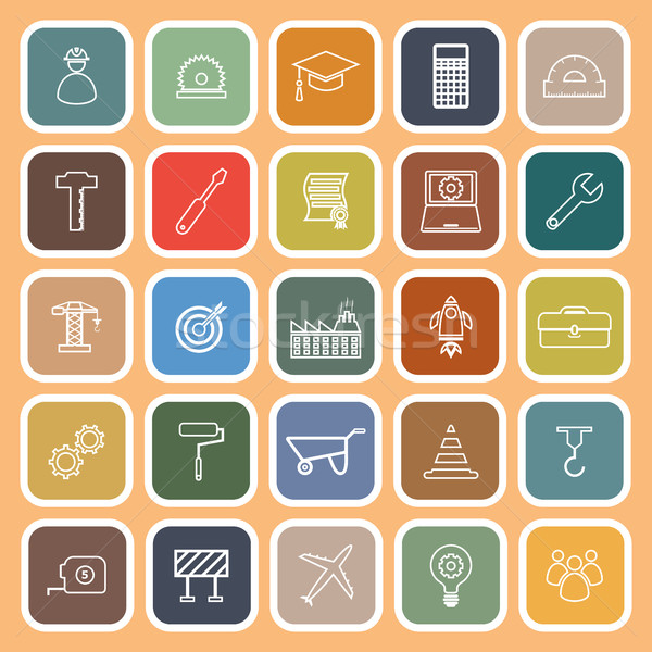 Engineering line flat icons on orange background Stock photo © punsayaporn