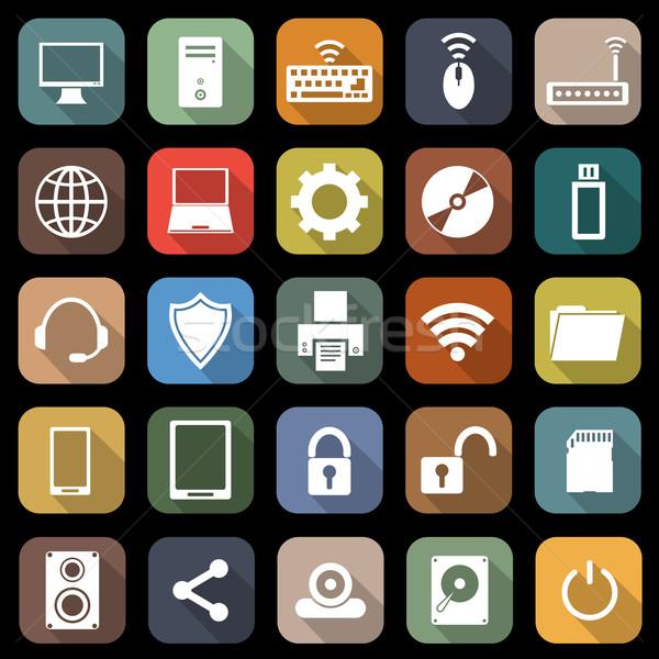 Computer iconen lang schaduw voorraad vector Stockfoto © punsayaporn