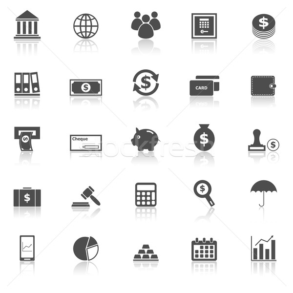 Banking icons with reflect on white background Stock photo © punsayaporn